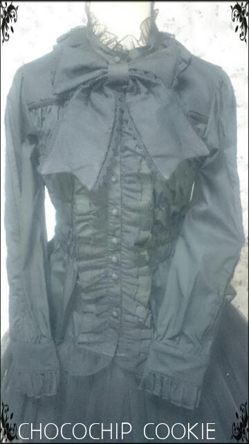 画像: リボンタイ付き水玉チュールスタンドカラー長袖ブラウス