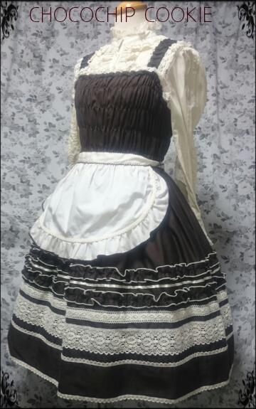 画像1: フリルエプロン付きシャーリングジャンパースカート