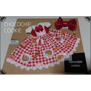 画像: カップケーキ×ギンガム・丸襟半袖ワンピース+リボンカチューシャ