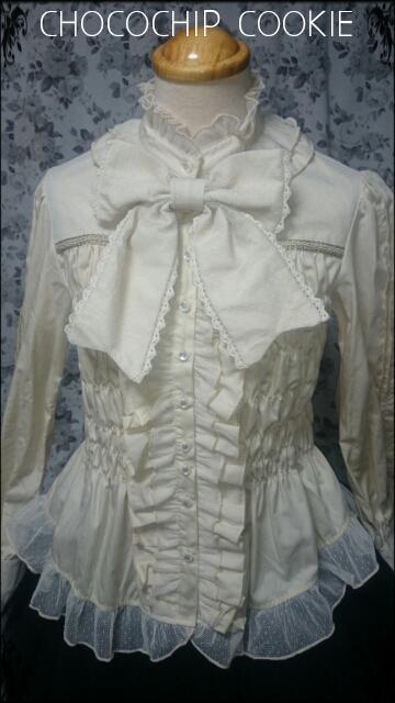 画像1: リボンタイ付き水玉チュールスタンドカラー長袖ブラウス