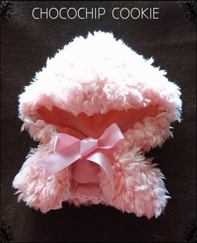 画像: モコモコプードルフードケープ  (1)水色 (2)ピンク