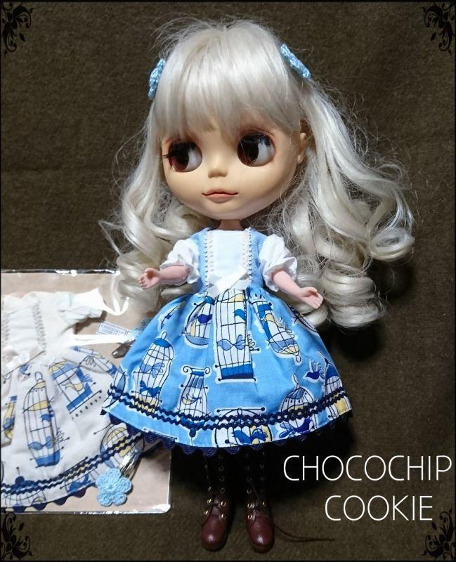 画像2: 青い鳥ワンピース+手編みお花パッチンピン 双子セット