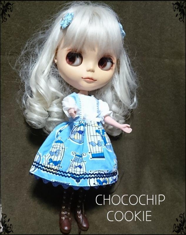 画像4: 青い鳥ワンピース+手編みお花パッチンピン 双子セット