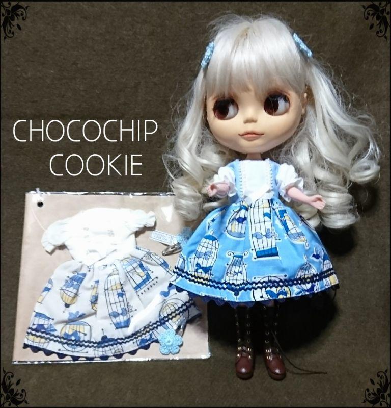 画像1: 青い鳥ワンピース+手編みお花パッチンピン 双子セット