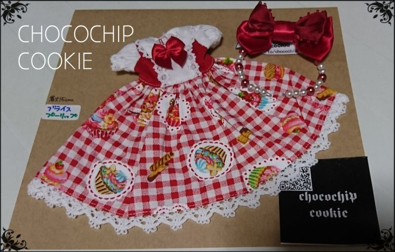 画像1: カップケーキ×ギンガム・丸襟半袖ワンピース+リボンカチューシャ